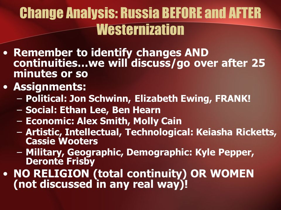 Change Analysis: Russia BEFORE and AFTER Westernization