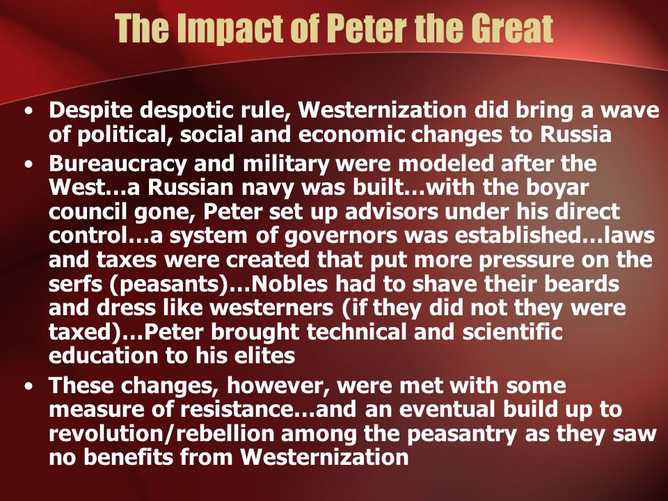 The Impact of Peter the Great