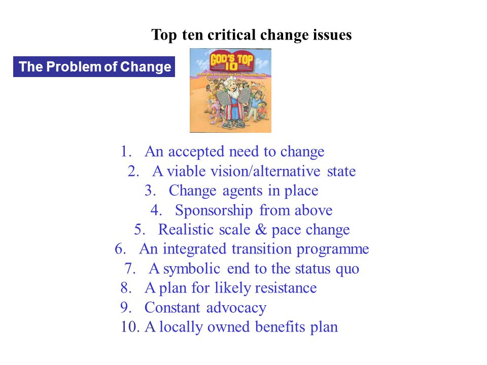 Top ten critical change issues