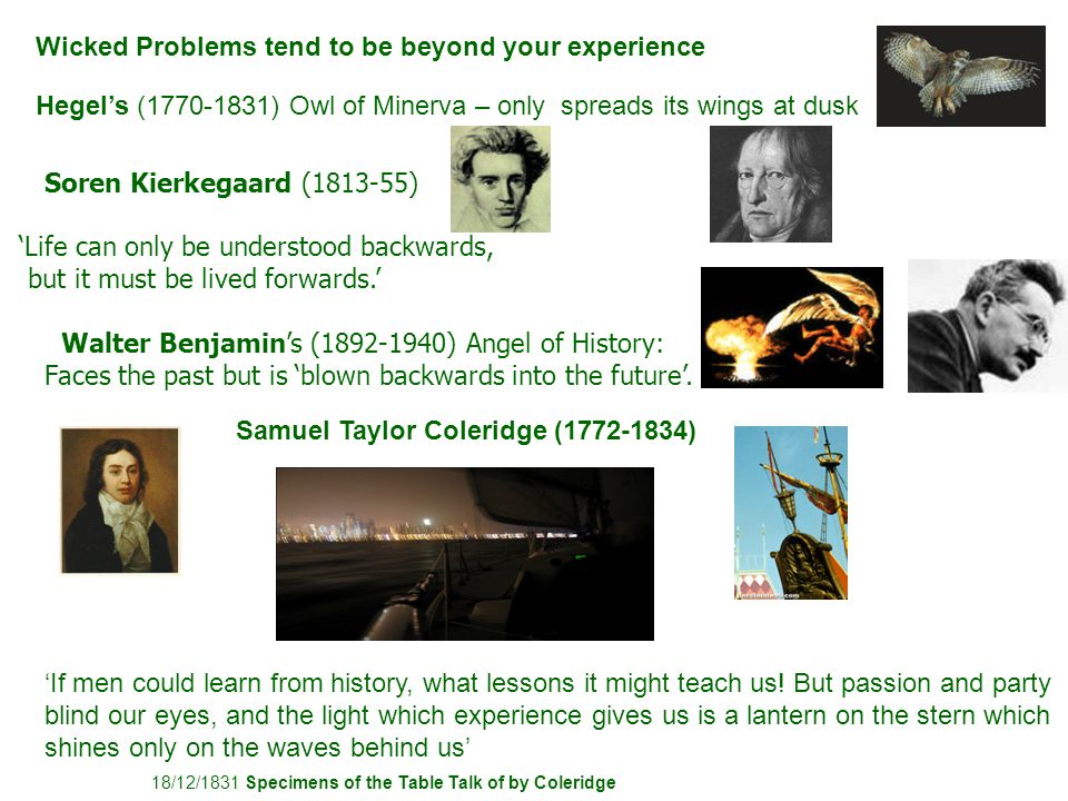 Soren Kierkegaard (1813-55) 'Life can only be understood backwards, but it must be lived forwards.'