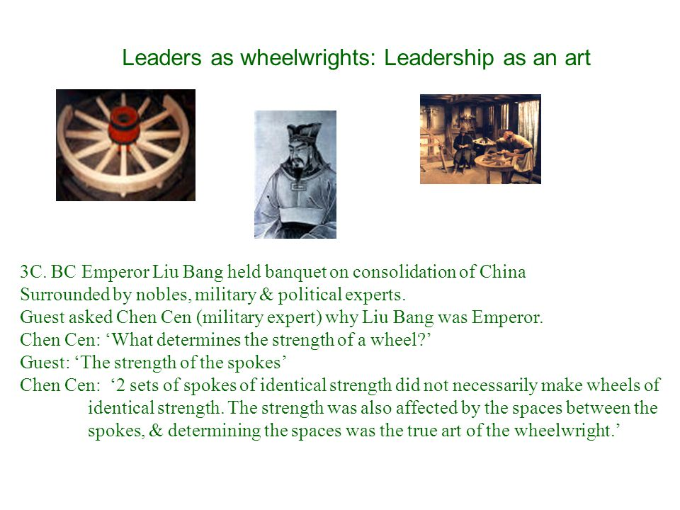 Leaders as wheelwrights: Leadership as an art