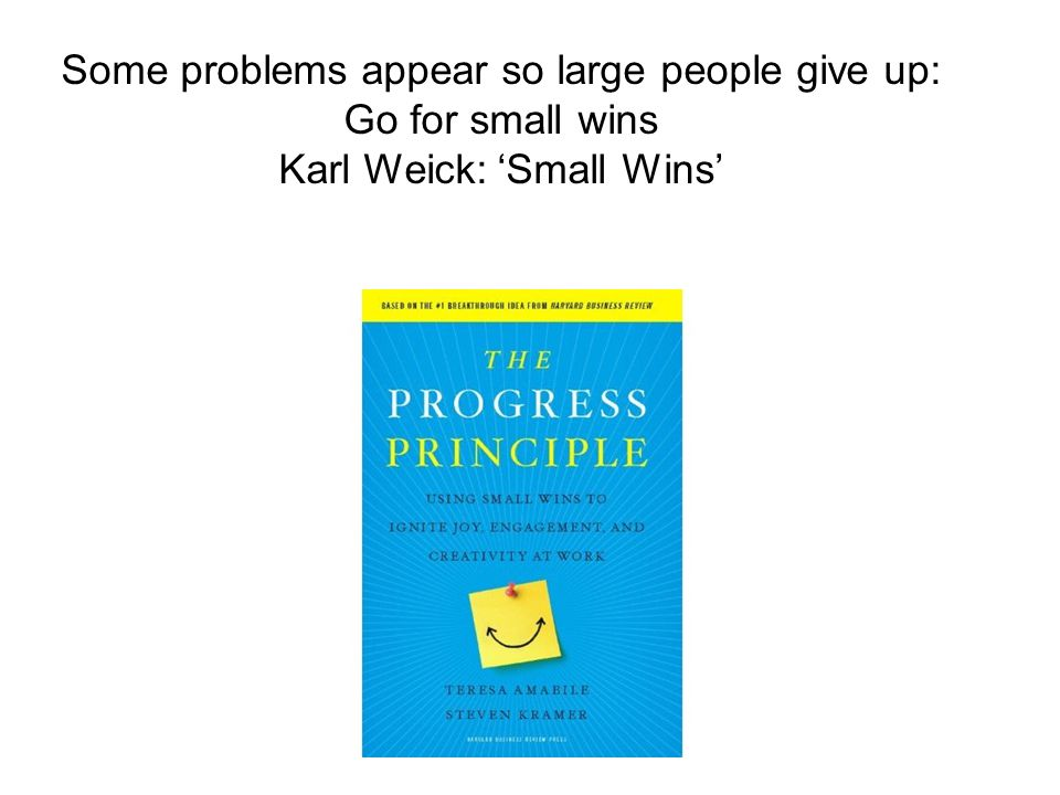 Some problems appear so large people give up: Go for small wins