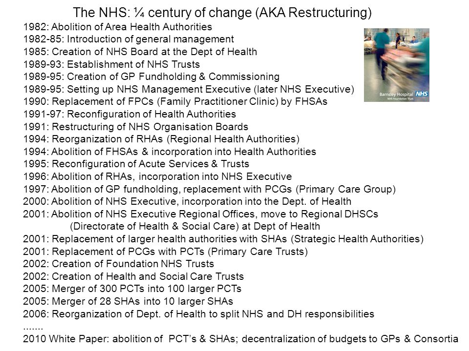 The NHS: ¼ century of change (AKA Restructuring)