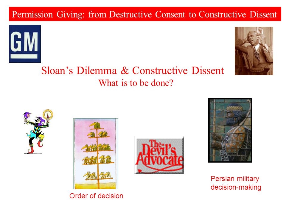 Permission Giving: from Destructive Consent to Constructive Dissent