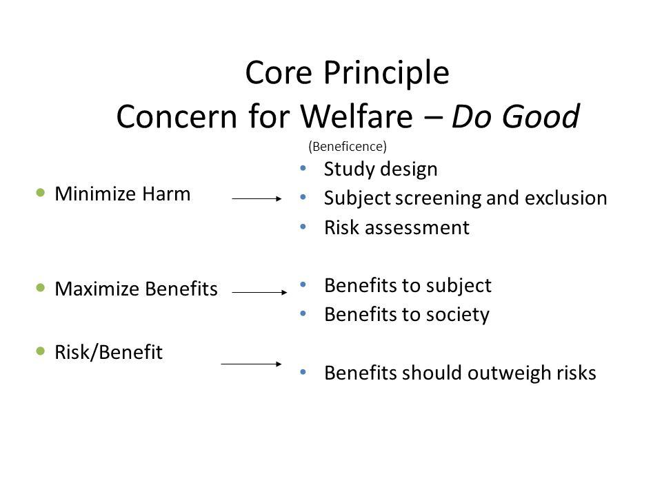 Core Principle Concern for Welfare – Do Good (Beneficence)