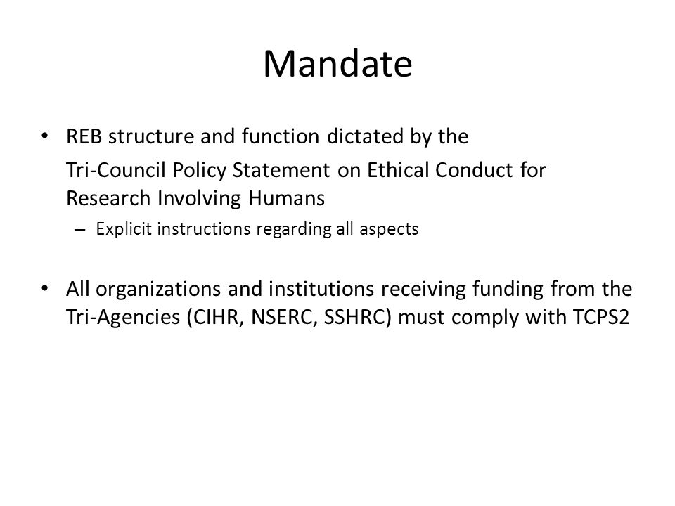 Mandate REB structure and function dictated by the