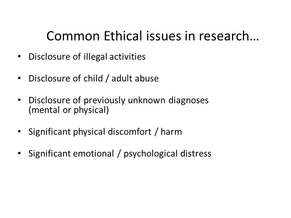 Common Ethical issues in research…