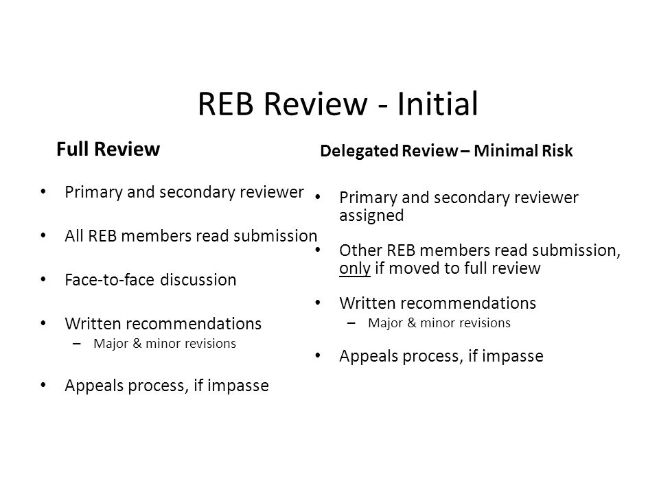 REB Review - Initial Full Review Delegated Review – Minimal Risk