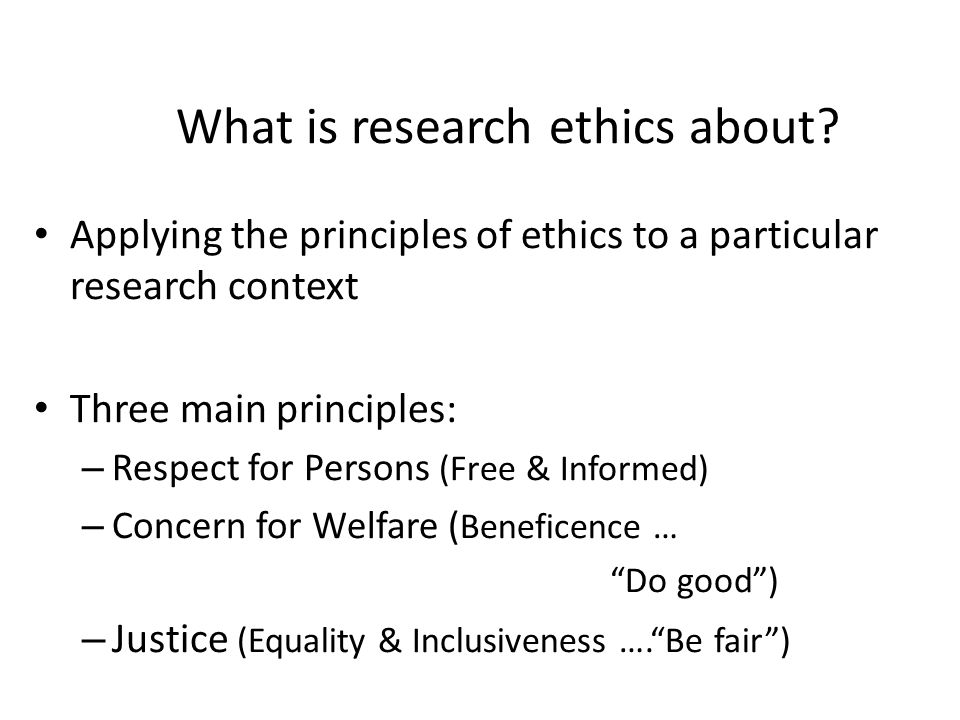 What is research ethics about