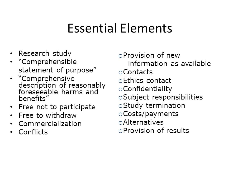 Essential Elements Research study Provision of new Comprehensible