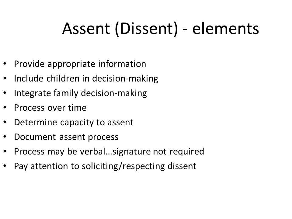 Assent (Dissent) - elements