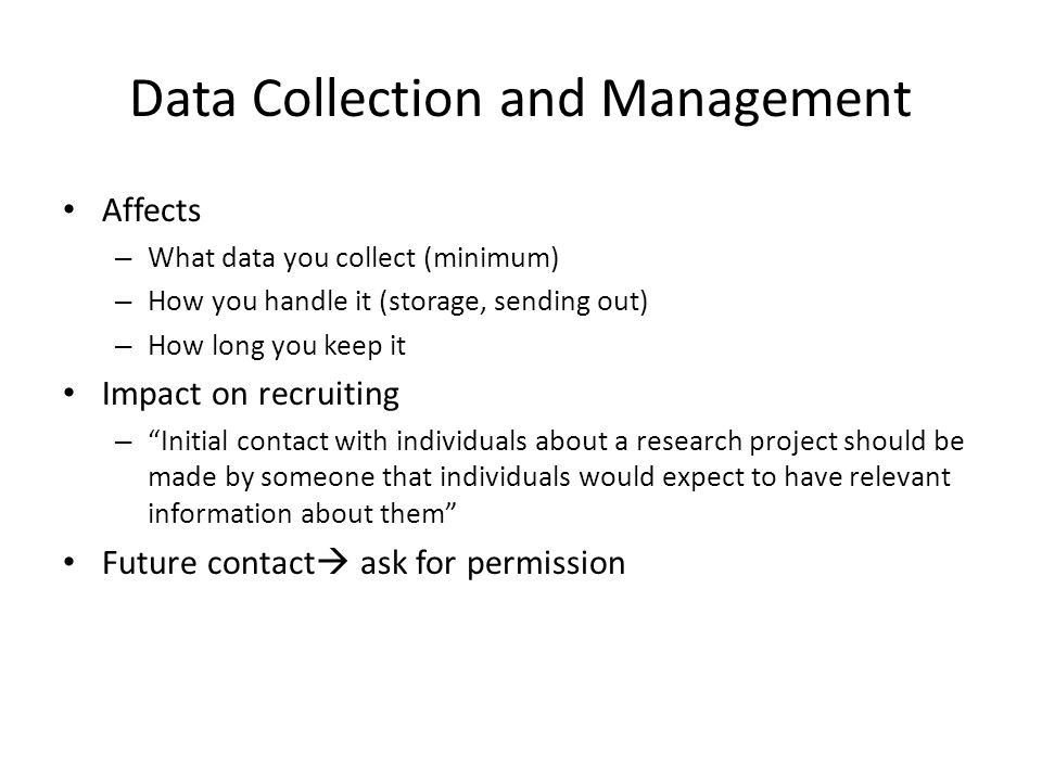 Data Collection and Management
