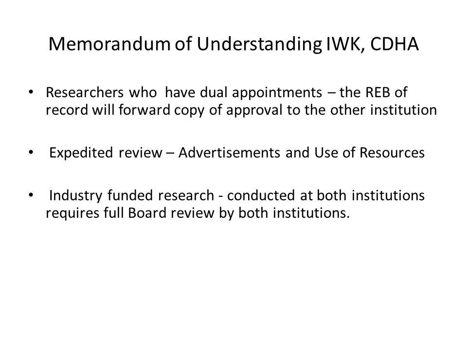 Memorandum of Understanding IWK, CDHA