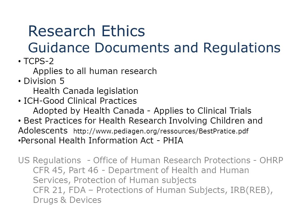 Research Ethics Guidance Documents and Regulations