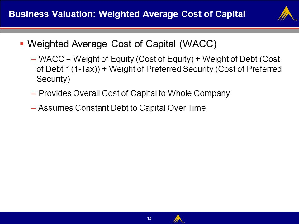 Business Valuation: Weighted Average Cost of Capital