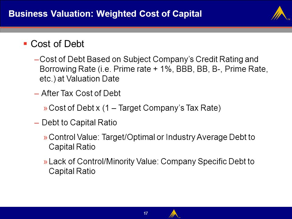 Business Valuation: Weighted Cost of Capital