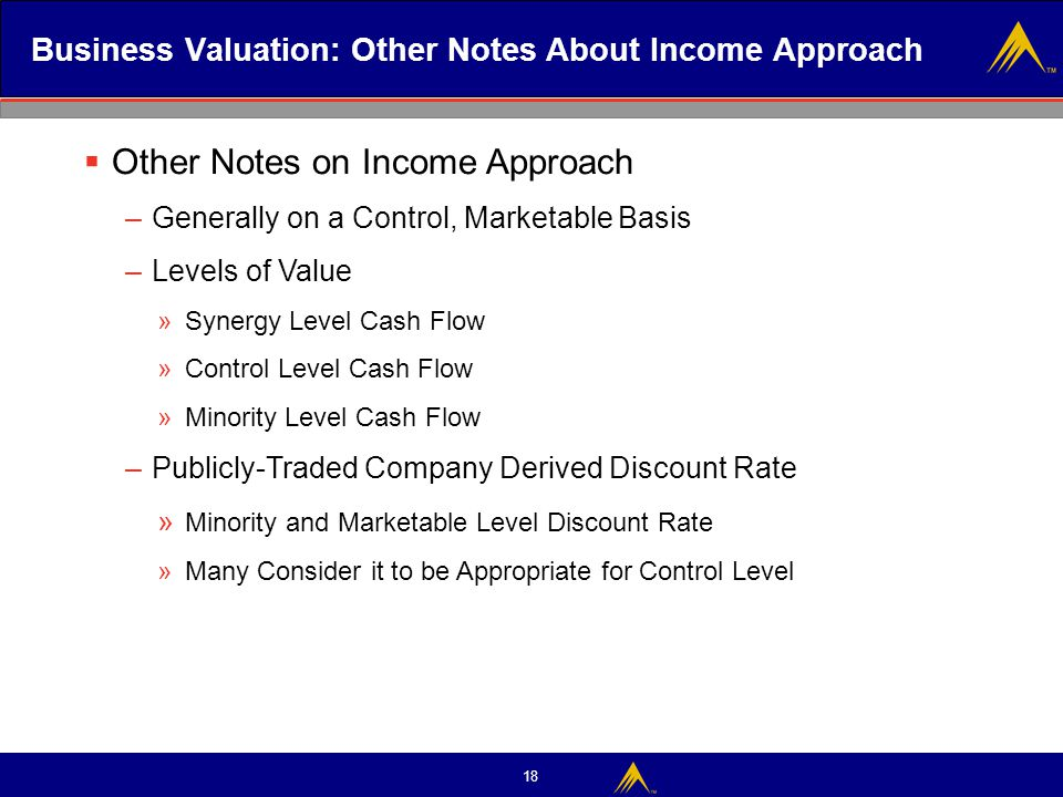 Business Valuation: Other Notes About Income Approach
