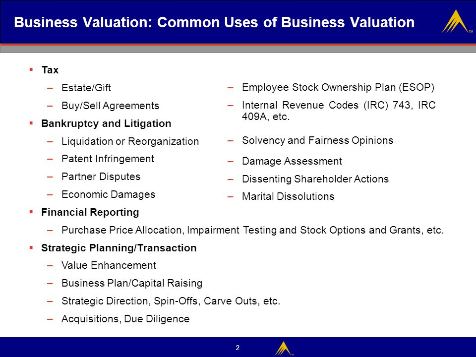 Business Valuation: Common Uses of Business Valuation