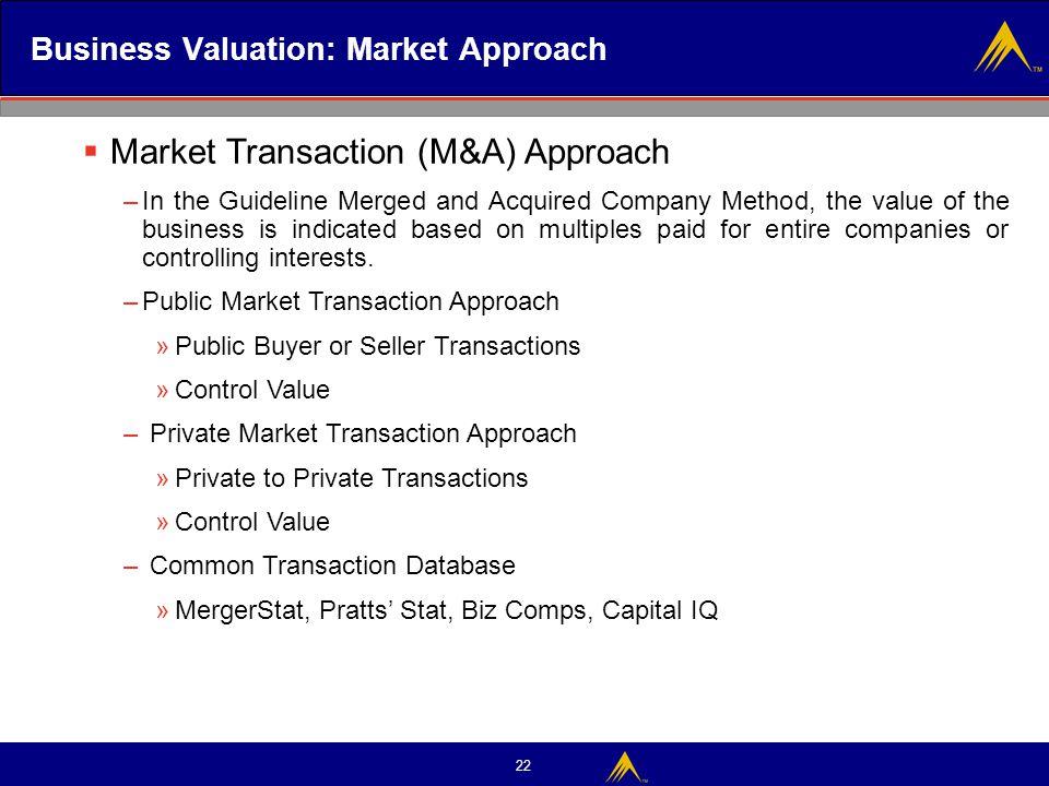 Business Valuation: Market Approach