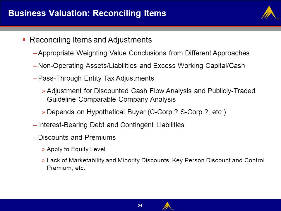 Business Valuation: Reconciling Items