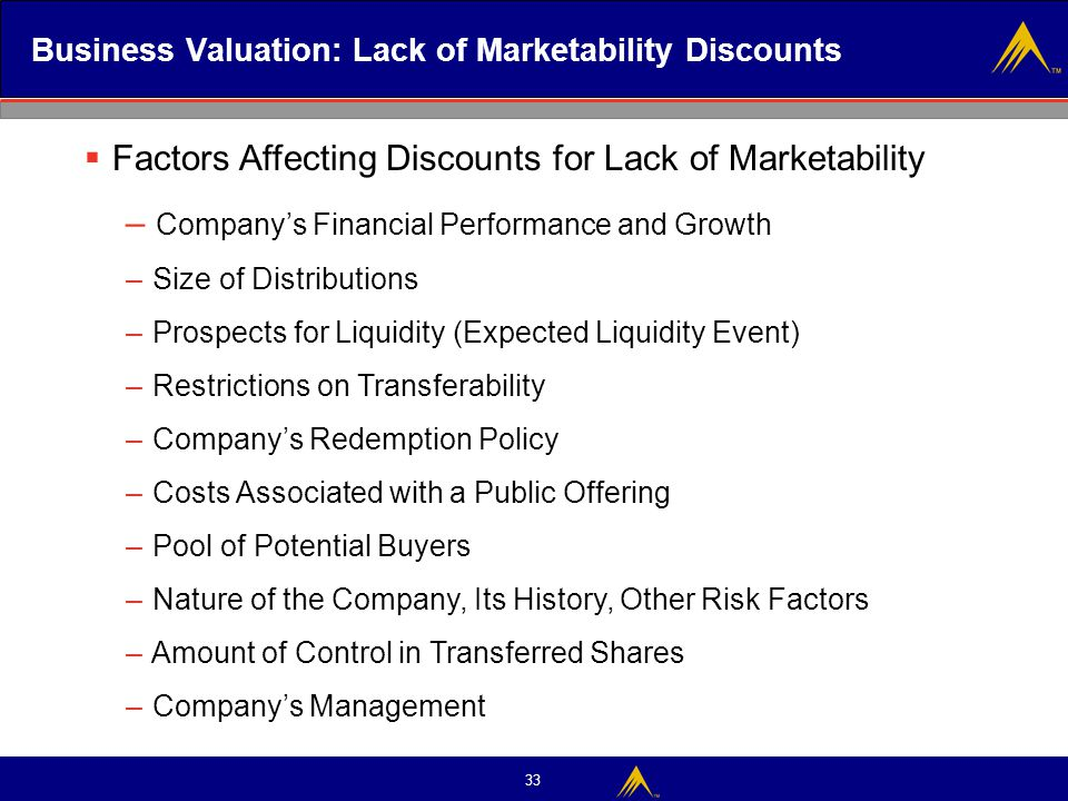 Business Valuation: Lack of Marketability Discounts