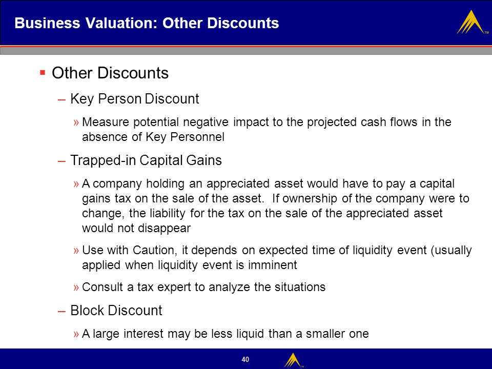 Business Valuation: Other Discounts