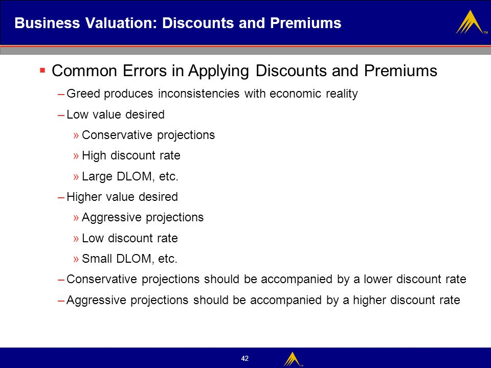 Business Valuation: Discounts and Premiums