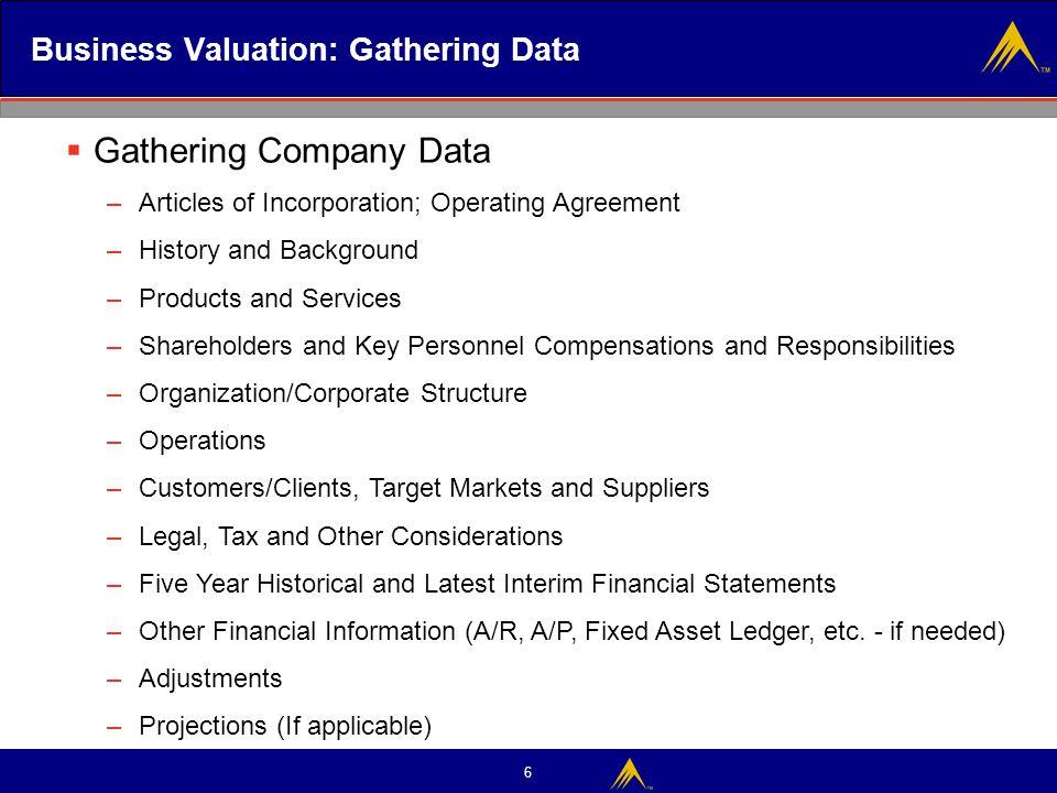 Business Valuation: Gathering Data