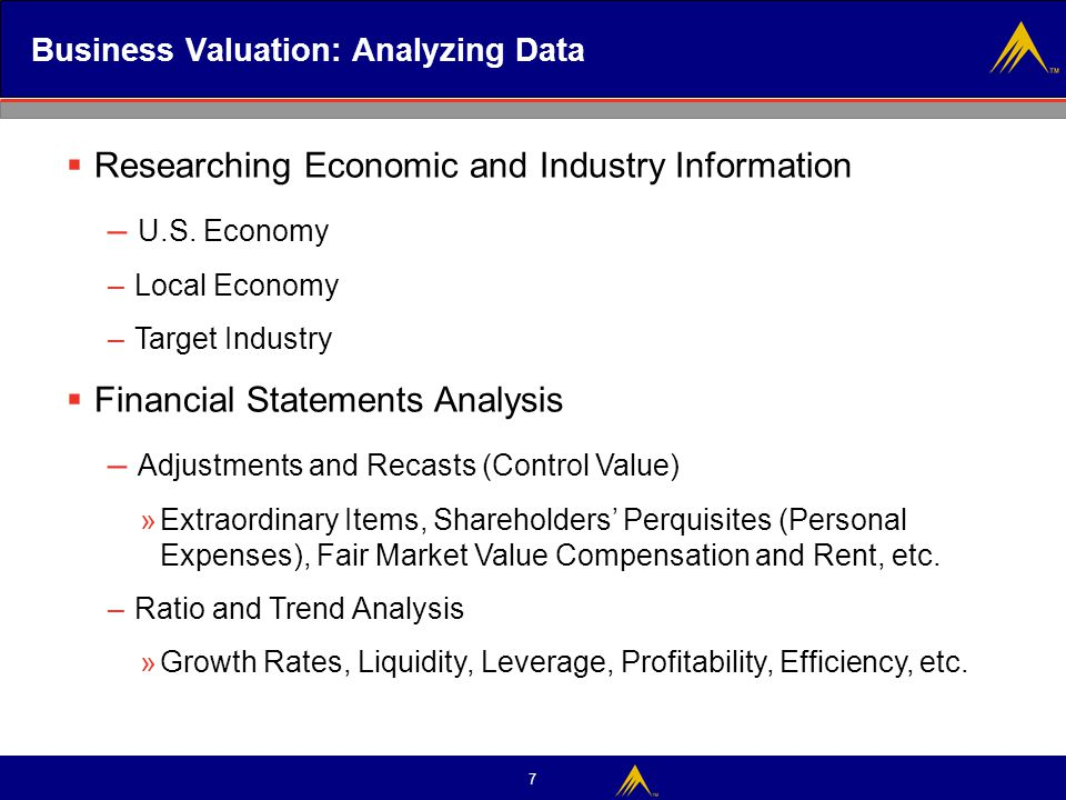 Business Valuation: Analyzing Data