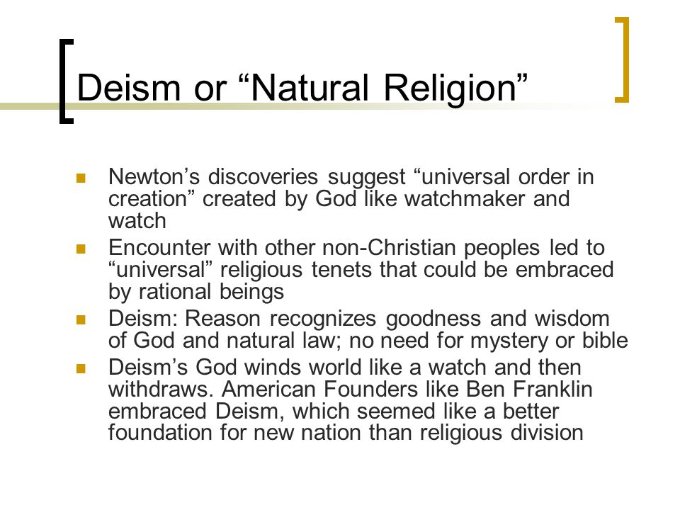 Deism or Natural Religion
