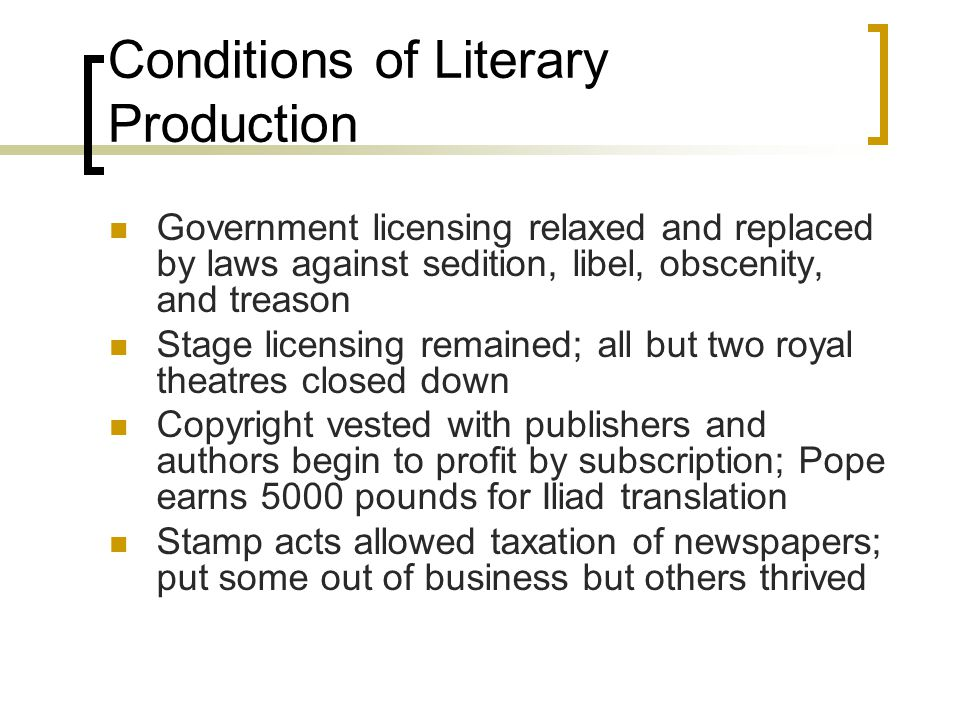 Conditions of Literary Production