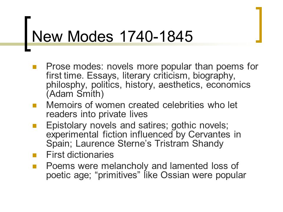 New Modes 1740-1845