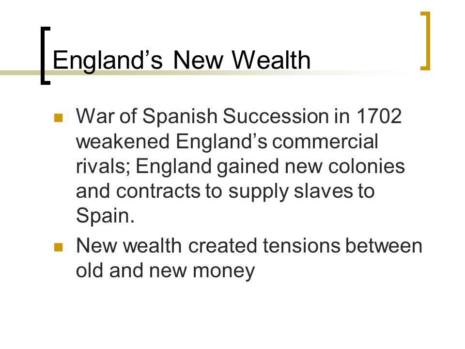 England's New Wealth