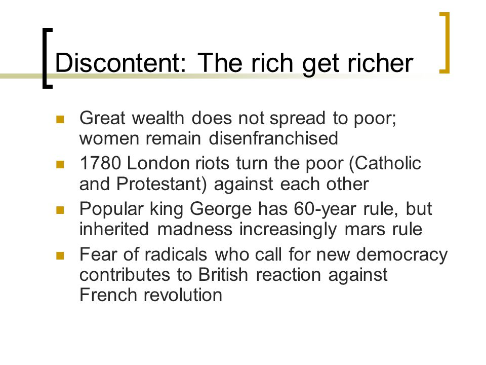 Discontent: The rich get richer