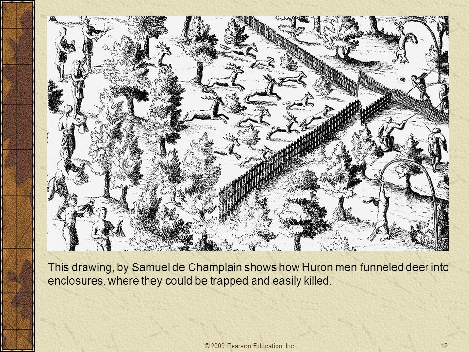 This drawing, by Samuel de Champlain shows how Huron men funneled deer into enclosures, where they could be trapped and easily killed.