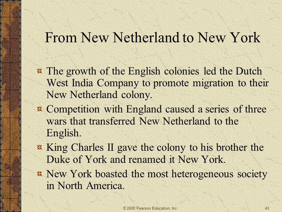 From New Netherland to New York
