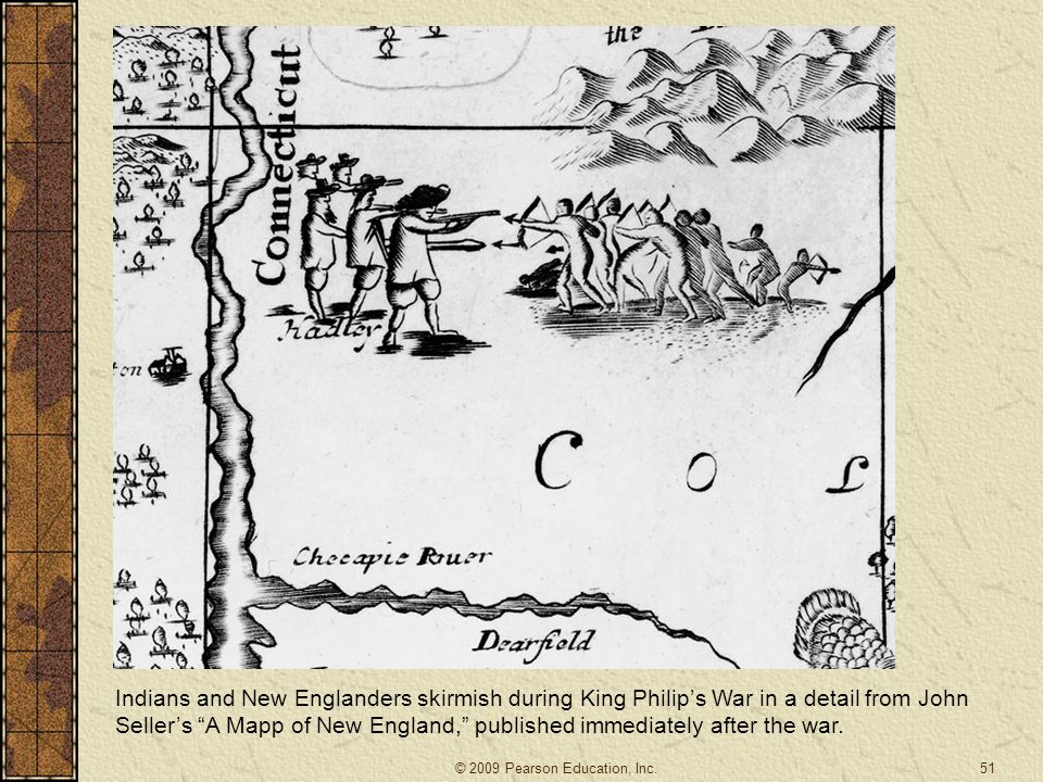 Indians and New Englanders skirmish during King Philip's War in a detail from John Seller's A Mapp of New England, published immediately after the war.