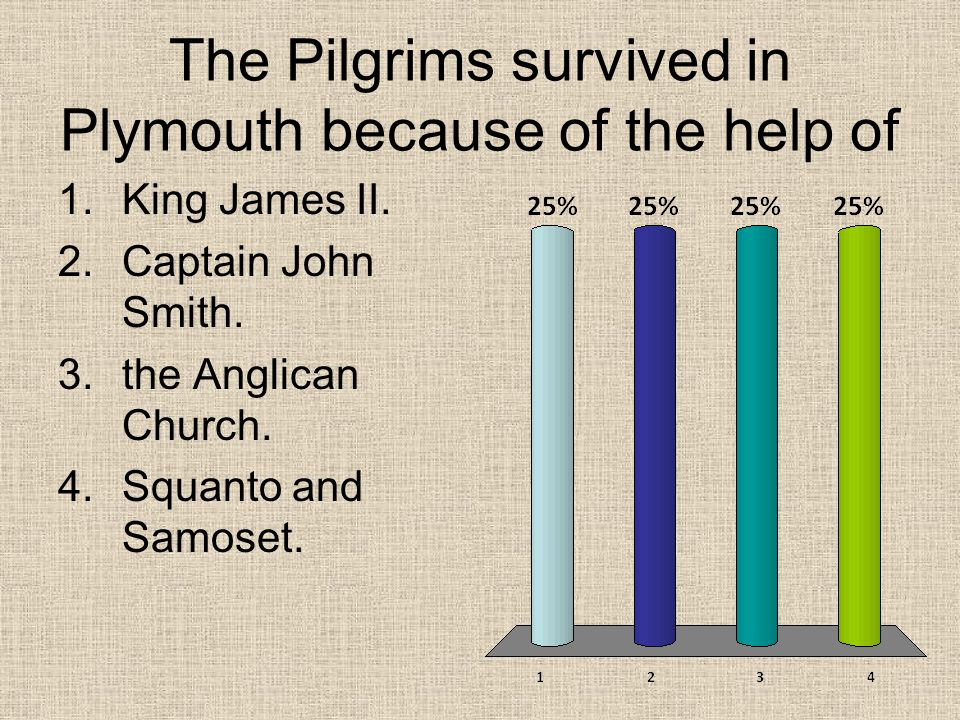 The Pilgrims survived in Plymouth because of the help of