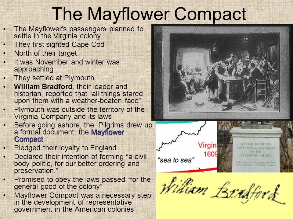 The Mayflower Compact The Mayflower's passengers planned to settle in the Virginia colony. They first sighted Cape Cod.