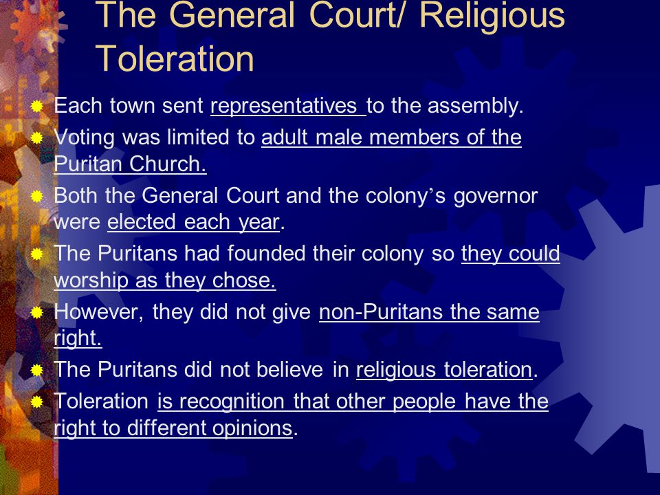 The General Court/ Religious Toleration