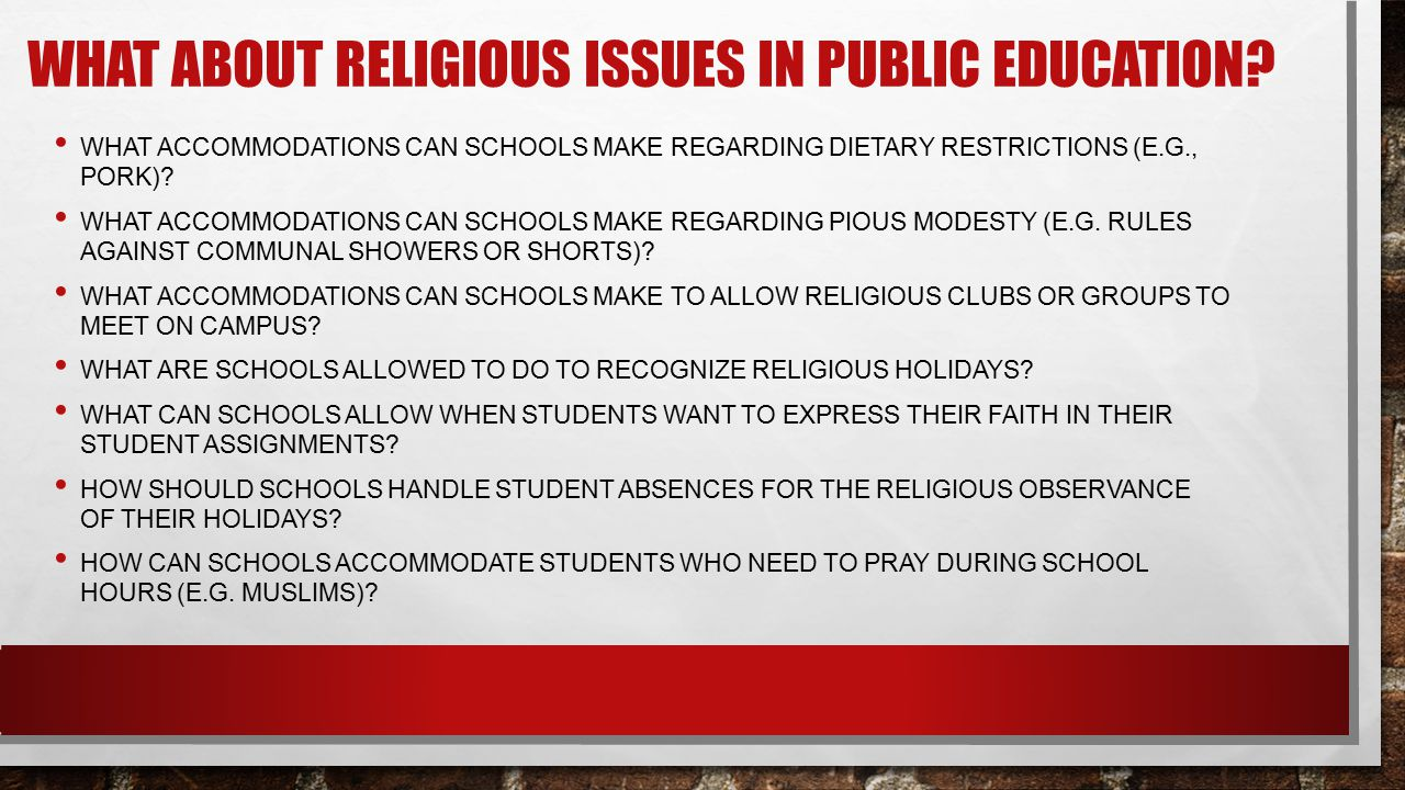 What about religious issues in public education