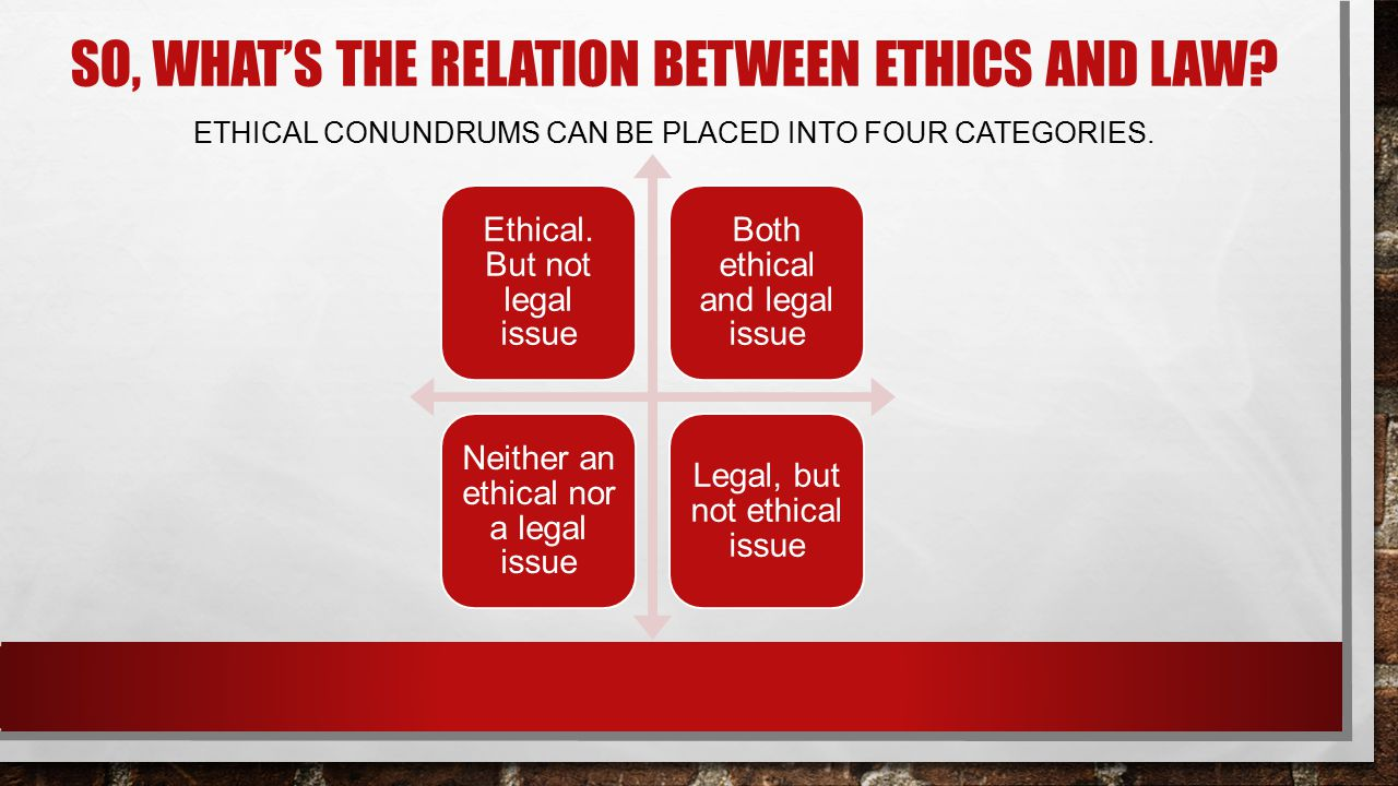 So, what's the relation between ethics and law
