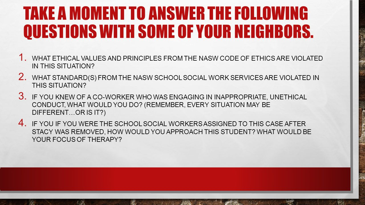 Take a moment to answer the following questions with some of your neighbors.
