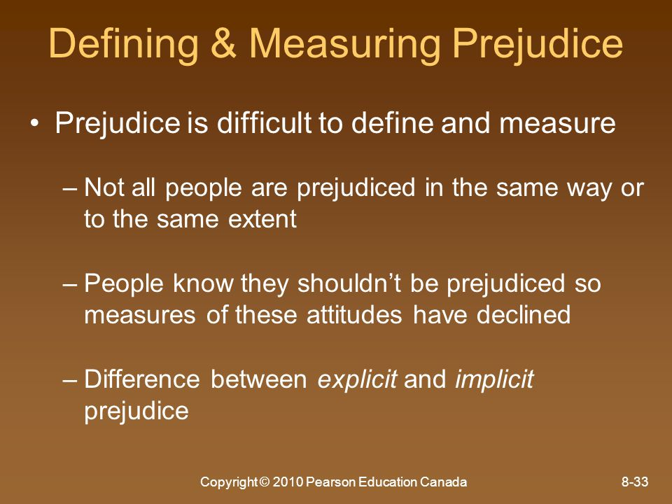Defining & Measuring Prejudice