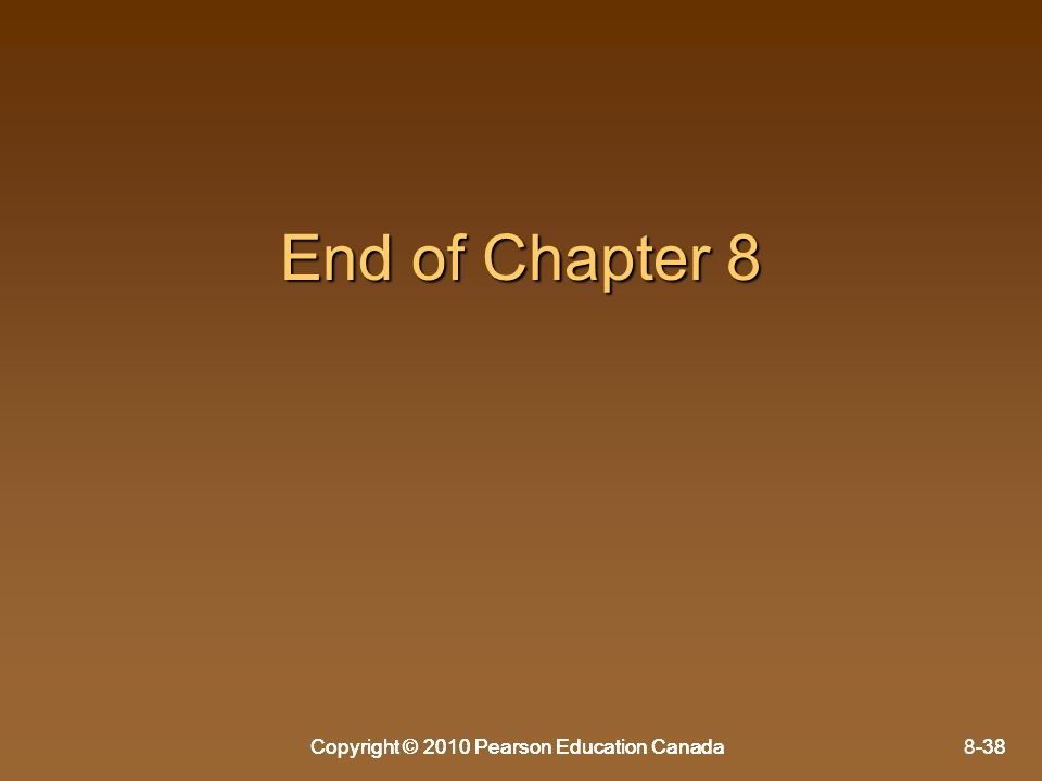 End of Chapter 8 Copyright © 2010 Pearson Education Canada