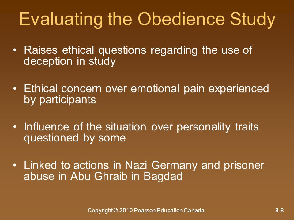 Evaluating the Obedience Study