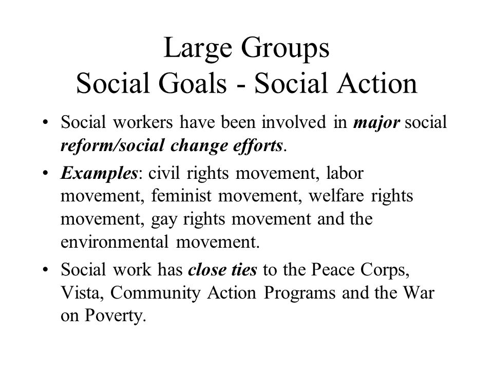 Large Groups Social Goals - Social Action
