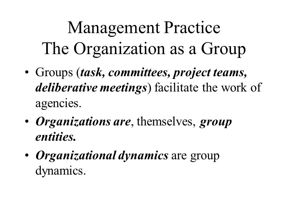 Management Practice The Organization as a Group