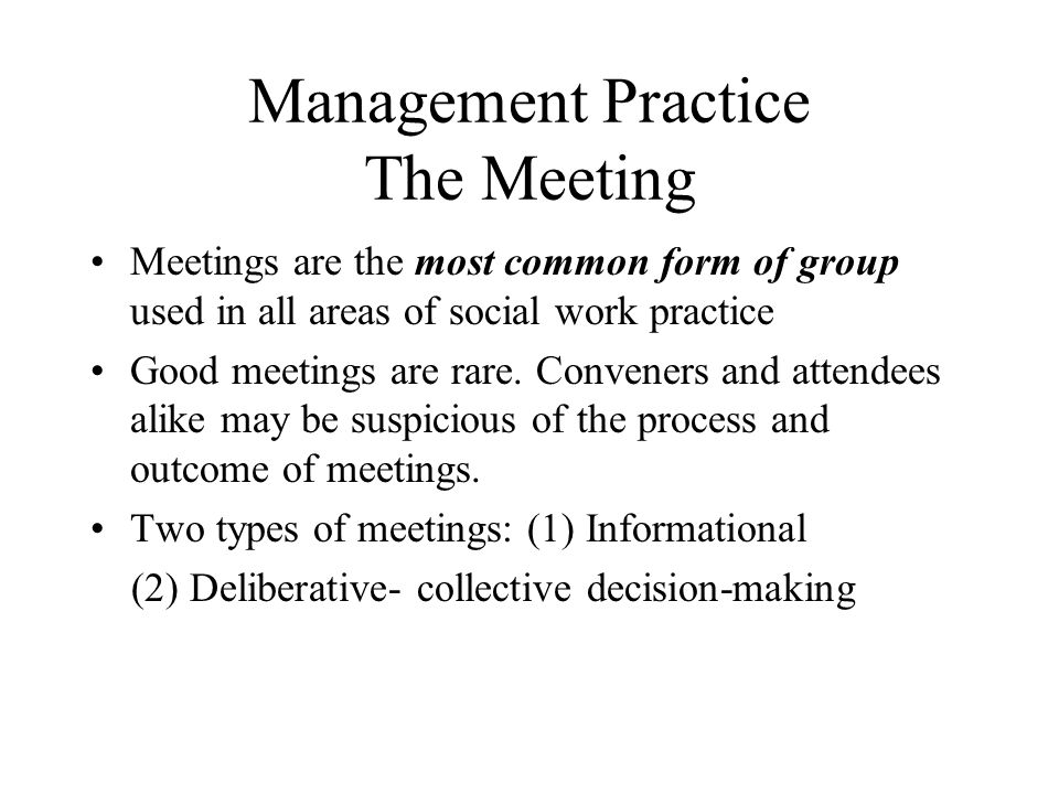 Management Practice The Meeting