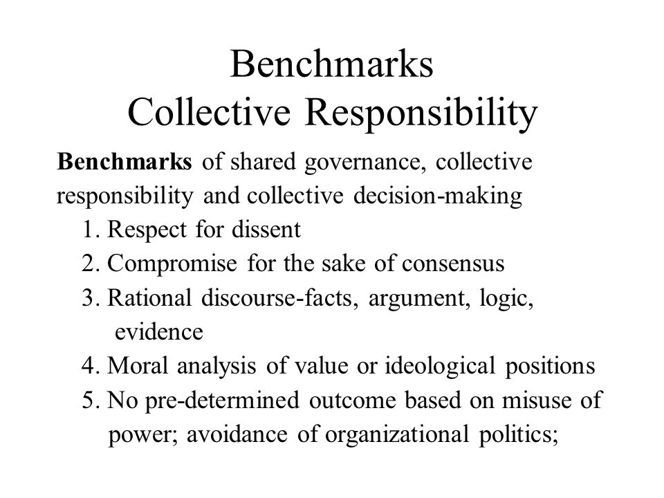 Benchmarks Collective Responsibility